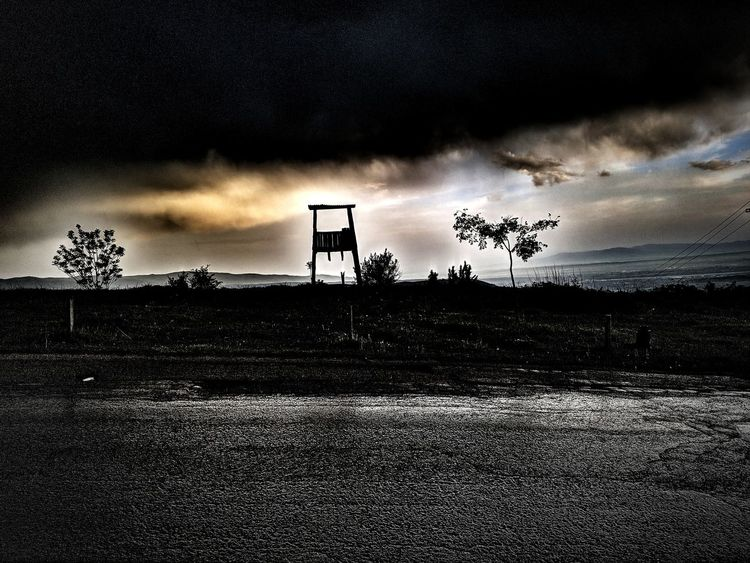 Cloudy dusk Black HDR Highway Road Rain Rainy Road Wet Road Watchtower Tree Star - Space Astronomy Silhouette Sky Cloud - Sky Sky Only Cumulus Cloudscape Cumulus Cloud Meteorology Dramatic Sky Thunderstorm Storm Cloud