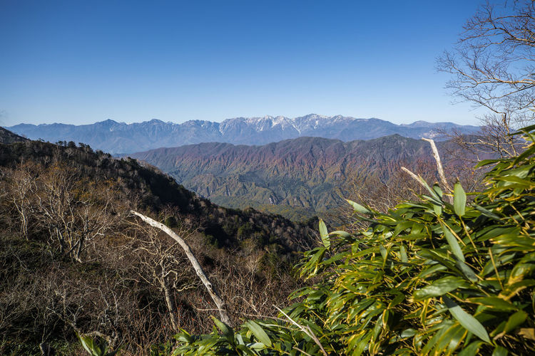 Scenic View Of Mountains Against Clear Sky