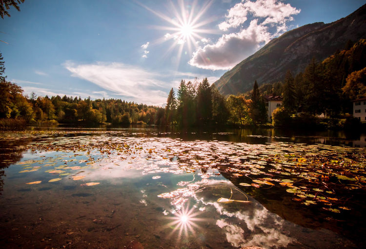 Autumn. Sunbeam Water Mountain Sun Lens Flare Sunlight Reflection Tranquil Scene Tree Scenics Sunny Tranquility Waterfront Sky Beauty In Nature Nature Calm Trentino  Trentino Alto Adige Landscape Lake