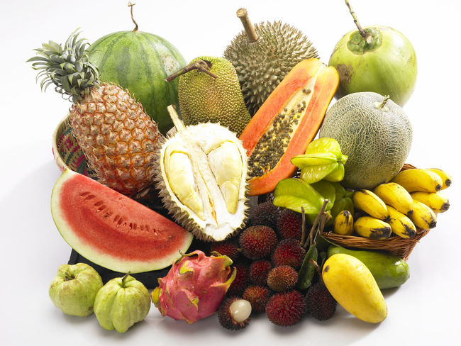 group of tropical fruit Banana Coconut Durian Mango Pineapple Rambutan Star Fruit  Cempedak Dragon Fruit Food Food And Drink Freshness Fruit Guava  Healthy Eating No People Papaya Still Life Studio Shot Tropical Fruit Variation Watermelon White Background