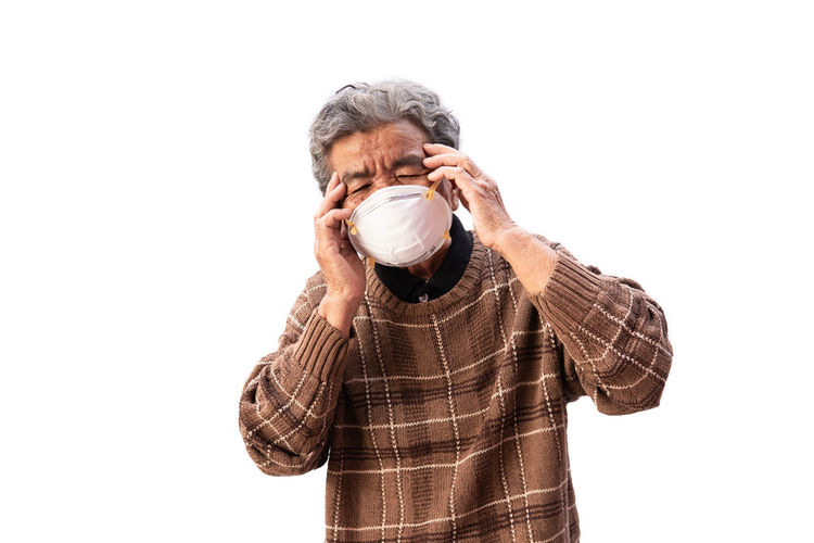 Mask Pollution Asian  Senior Health Protection Wearing Air Problem Issues Danger