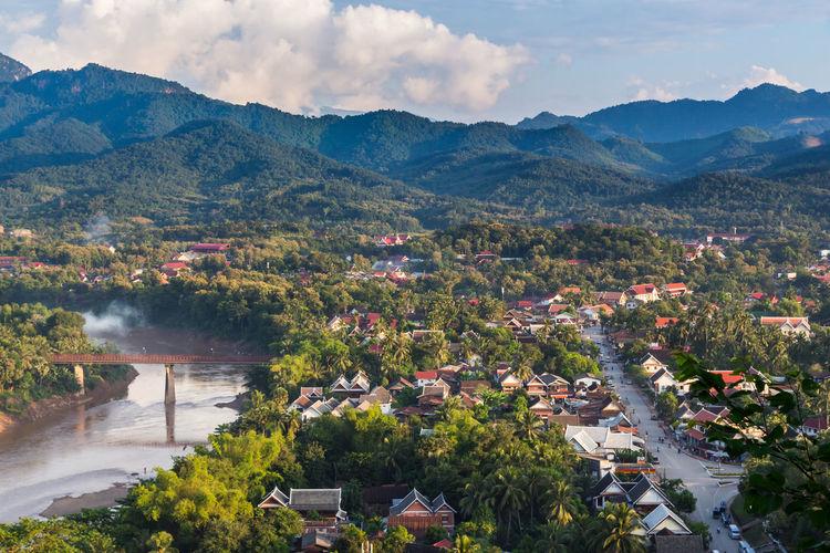 High angle view of luang prabang