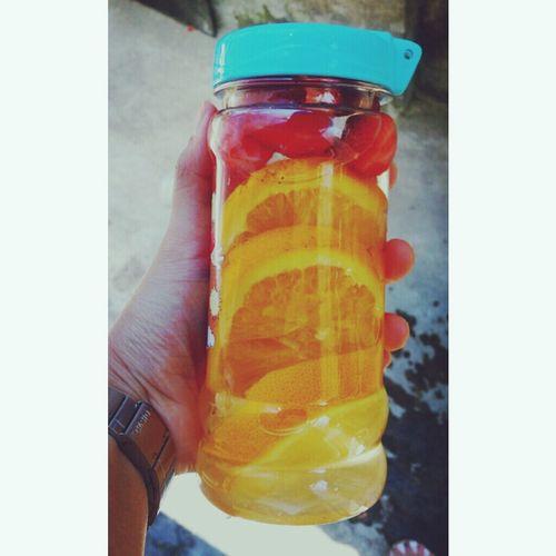 Good Morning! Infused Water Oranges Strawberries Healthydrink