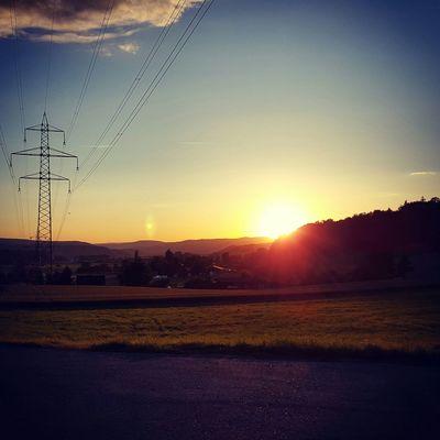 Sunset Sunlight Summernight Summer Landscape Ontheroad