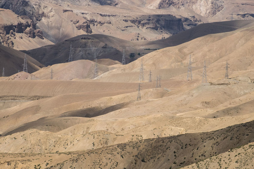 power line on dessert valley area near Kargil, India Arid Climate Beauty In Nature Day Desert Landscape Mountain Nature No People Outdoors Physical Geography Scenics Sky Tranquility