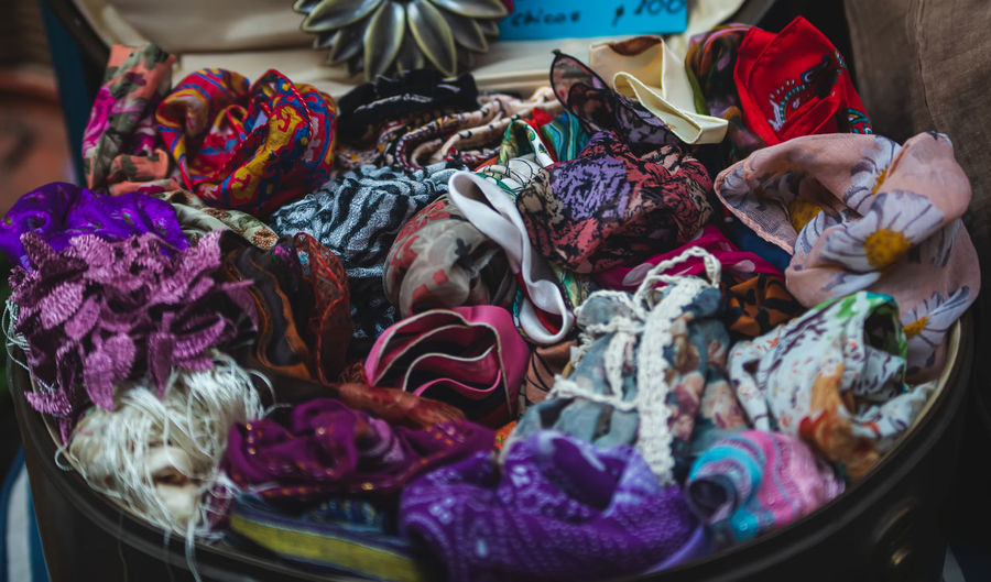 High angle view of garments for sale at market