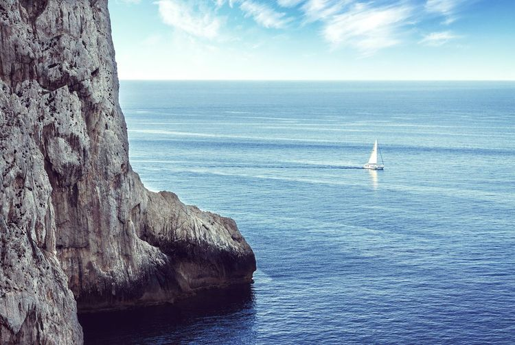 Sea Horizon Over Water Blue Sky Nautical Vessel Day Outdoors Scenics Sailing Nature Water Sailboat Yacht Sardinia Italy Seascape Ocean Boat Lonely