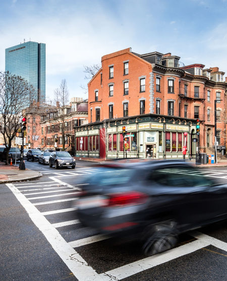 Architecture Blue Blur Blurred Motion Boston Brick Building Exterior Car City Hancock Massachusetts Mode Of Transport Motion New England  No People Slow Shutter South End Speed Transportation Vertical