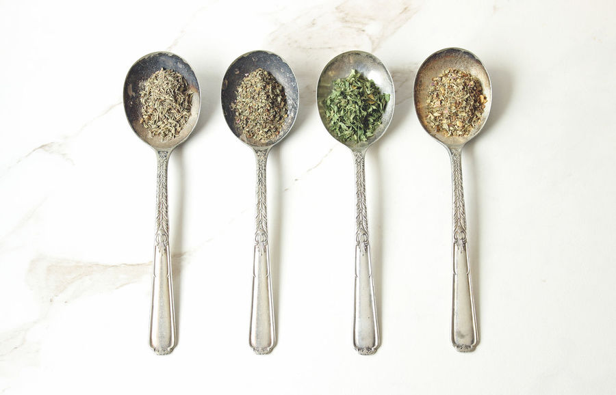 Flavors Background Basil Cooking Dried Herbs Flavor Food And Drink Food Preparation Herbs Ingredients Italian Seasoning Marble No People Overhead Parsley Silver  Spice Spoon Studio Shot Styled Thyme Top View Variation Vintage White Background