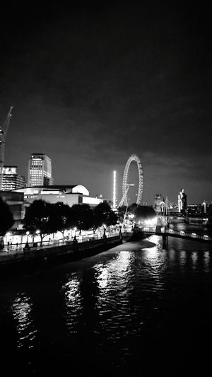 London Black And White Night London Eye City Water Ferris Wheel Urban Skyline Cityscape Reflection Arts Culture And Entertainment Entertainment Midnight