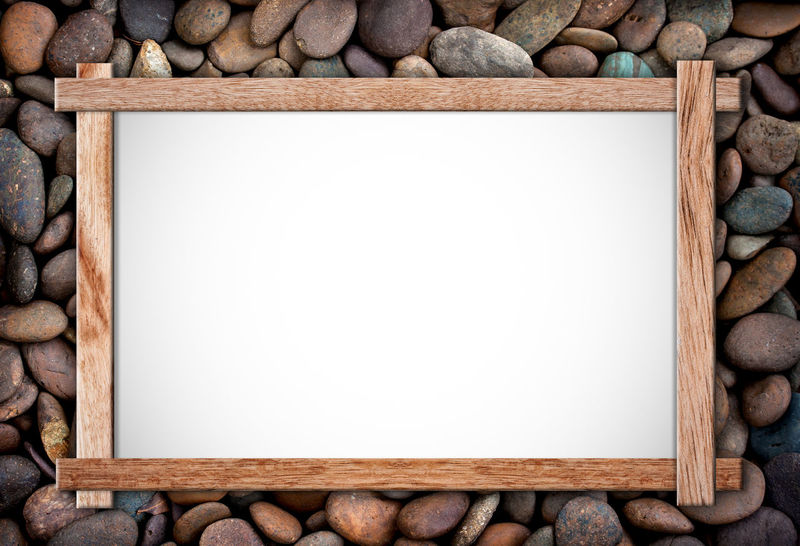 Backgrounds Blank Close-up Copy Space Directly Above Empty Frame Indoors  Large Group Of Objects Nature No People Paper Pebble Picture Frame Rock Solid Stone Studio Shot White Color Wood - Material