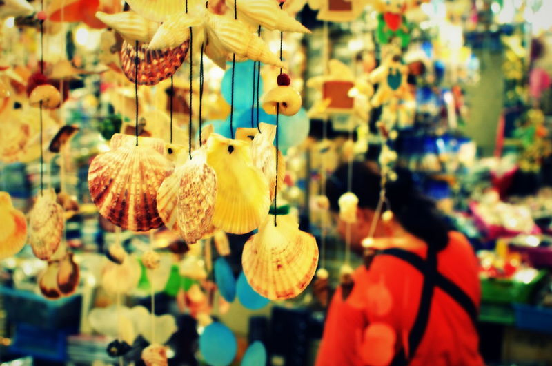 """""""Crafted from the seas"""" Arrangement Close-up Crafted Day Decoration Focus On Foreground Hanging Large Group Of Objects Man Made Object Market Multi Colored Seashells Selective Focus Eyeemphoto"""