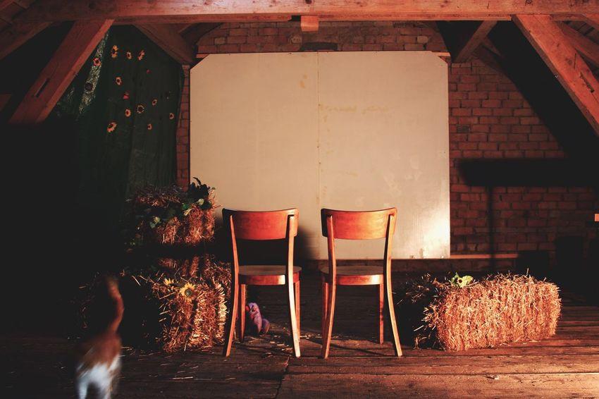 Cinema for two Beautiful Romance Romantic Cinenatic Cinema Barn Wood Chairs Hay