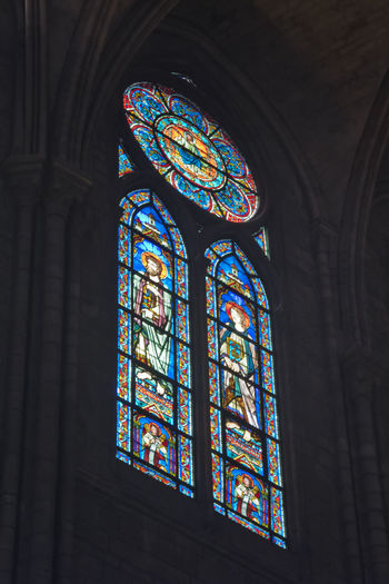 Nikon D810 - Inside Notre-Dame cathedral, Paris, France. Arch Architectural Feature Architecture Built Structure Cathedral Church D810 Design Illuminated Low Angle View Nikon D810 No People Notre-Dame Ornate Stained Glass Stained Glass Stained Glass Window
