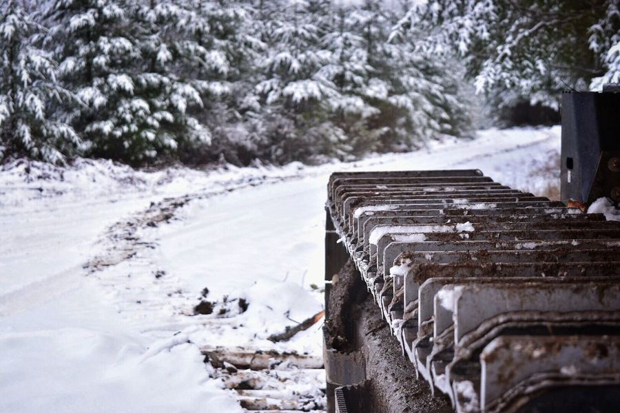 Winter Snow Cold Temperature Nature Weather Frozen Beauty In Nature No People Day Outdoors Tree The Way Forward Cold Water Close-up Snowing Machinery Industry Industrial Equipment Logging Logging Equipment Work Logging Roads Snow Covered Equipment