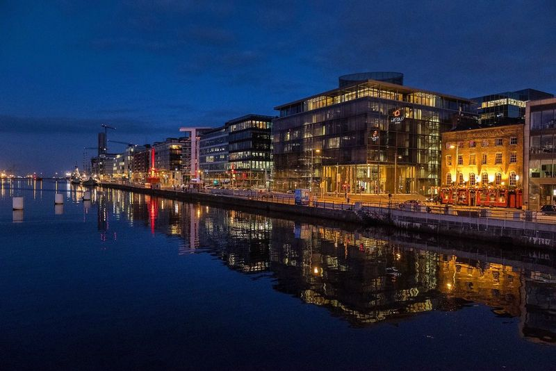 Architecture Reflection Built Structure Building Exterior Night Illuminated Waterfront Water Sky Dusk Outdoors No People Blue City Nature Dublin, Ireland
