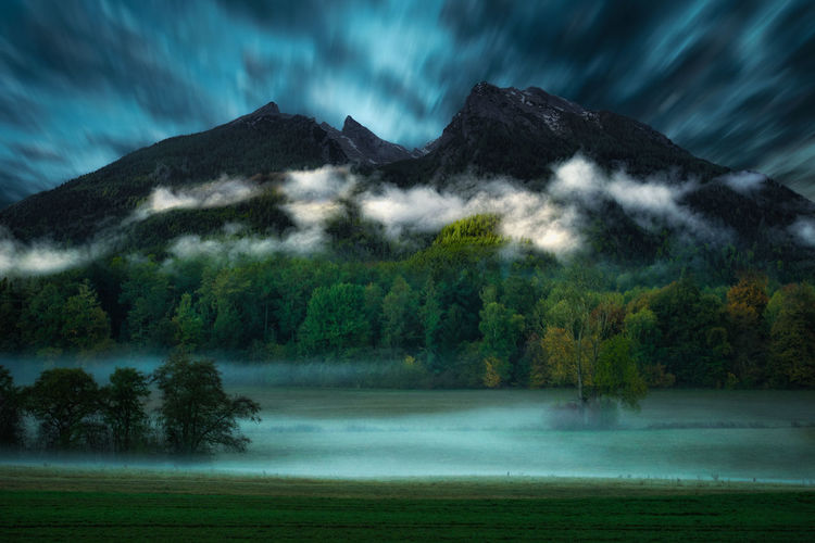 Twilight in the Alps Mountain Scenics - Nature Sky Tree Cloud - Sky Tranquility Mountain Range Land Environment Outdoors Power In Nature Mountain Peak Landscape Fog Mist Morning Twilight Manipulation Composing Https://www.youtube.com/TheAlex1a1a1a