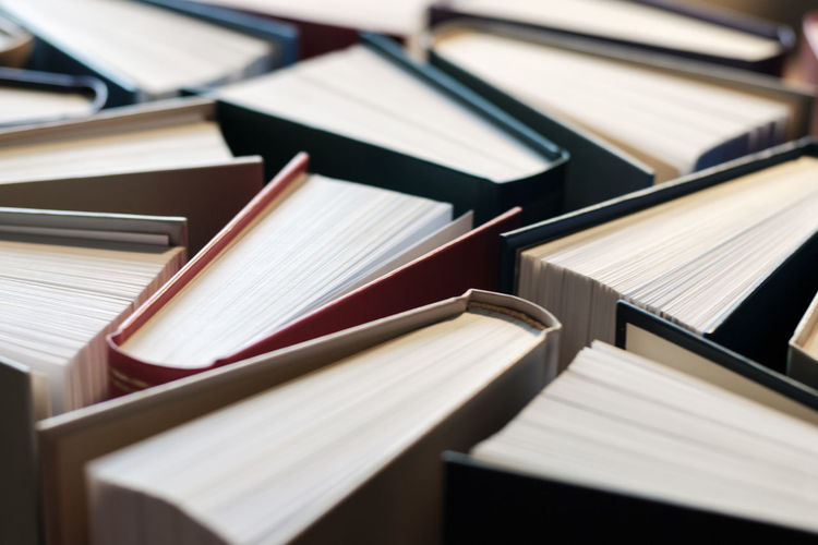 Close-up of books on table