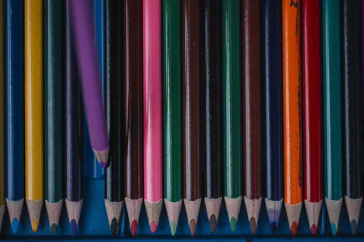 Arrangement Choice Close-up Collection Colored Pencil Colored Pencils Colorful Colors In A Row Large Group Of Objects Multi Colored No People Sharpen Your Pencil Still Life Variation Variety