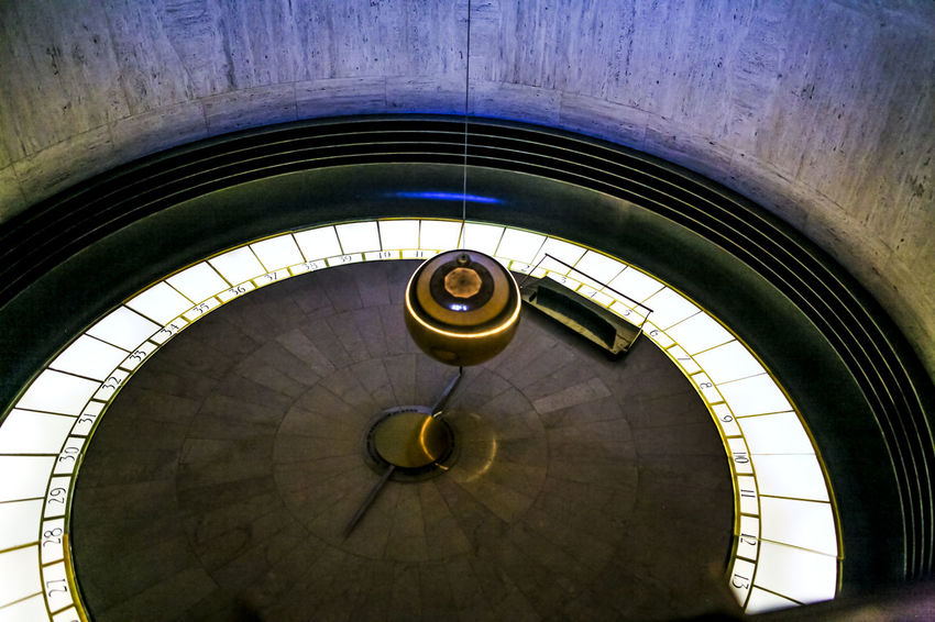 Architectural Feature Astronomy Axis California Ceiling Circle Design Directly Below Famous Place Griffith Observatory Historic Indoors  Metal Ornate Pattern Pendulum Railing Religion Repetition Science Fiction Spiral Spiral Staircase Staircase Steps Steps And Staircases