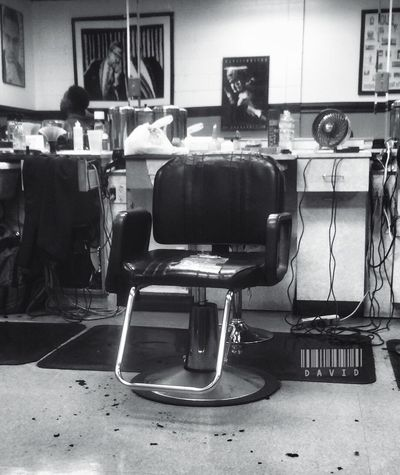 Empty Haircut Getting Fresh Barbershop Blackandwhite Monochrome
