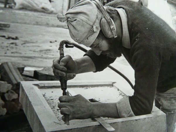 Working Skill  One Person Real People Occupation Craftsperson Human Hand Workshop Day Protective Workwear Indoors  Manual Worker Close-up One Man Only Stonemason Stone Material Stone - Object Stonemason Art Craftmanship Blackandwhite