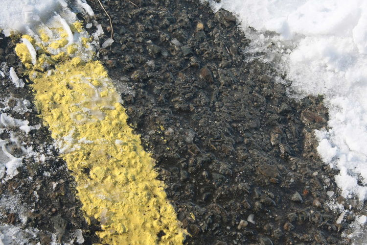 Close-up Day Nature No People Outdoors Road Lines Winter Winter Road Yellow
