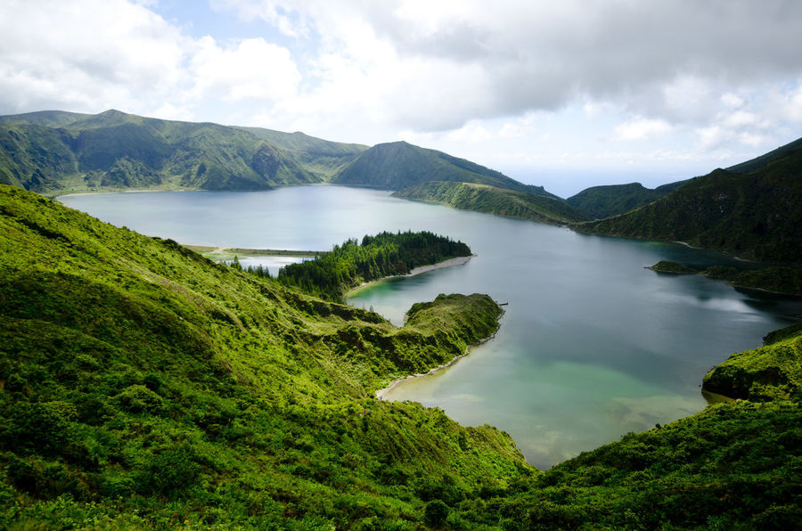 Azores Beauty In Nature Day Exploring Green High Angle View Hill Lagoa Do Fogo Lush Foliage Mountain Mountain Range Outdoors Physical Geography Rock Rock Formation Scenics Tranquil Scene Tranquility Trip Vacation Voyage Water