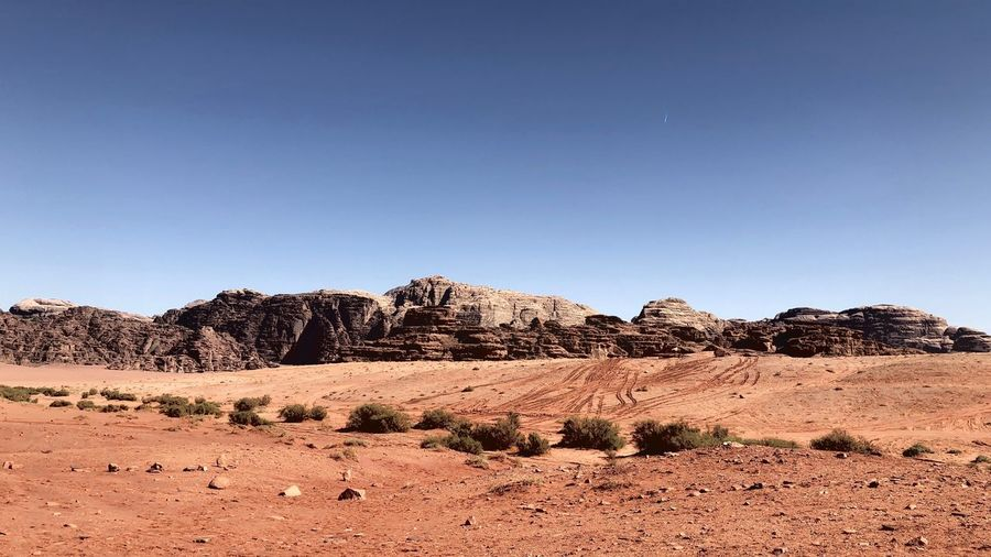 Rock Formations On Land Against Clear Sky