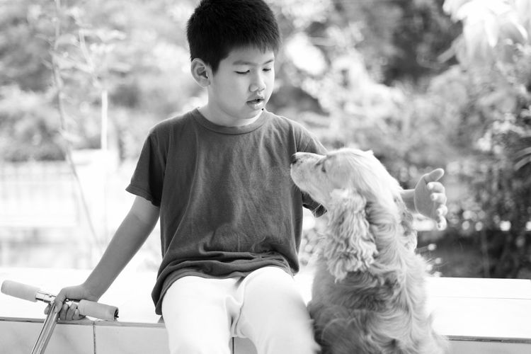 Animal Themes Boy Child Childhood Day Dog Domestic Animals Focus On Foreground Friendship Males  Mammal One Animal Outdoors People Pets Portrait Sitting Three Quarter Length Living With Pets