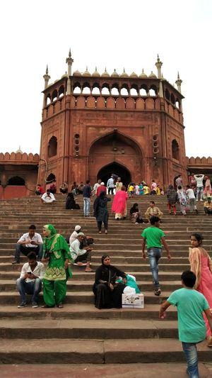Delhi Jama Masjid Fornt Jama Jama Masjid City Clear Sky Men Women Place Of Worship History Crowd Cultures Sky Architecture EyeEmNewHere