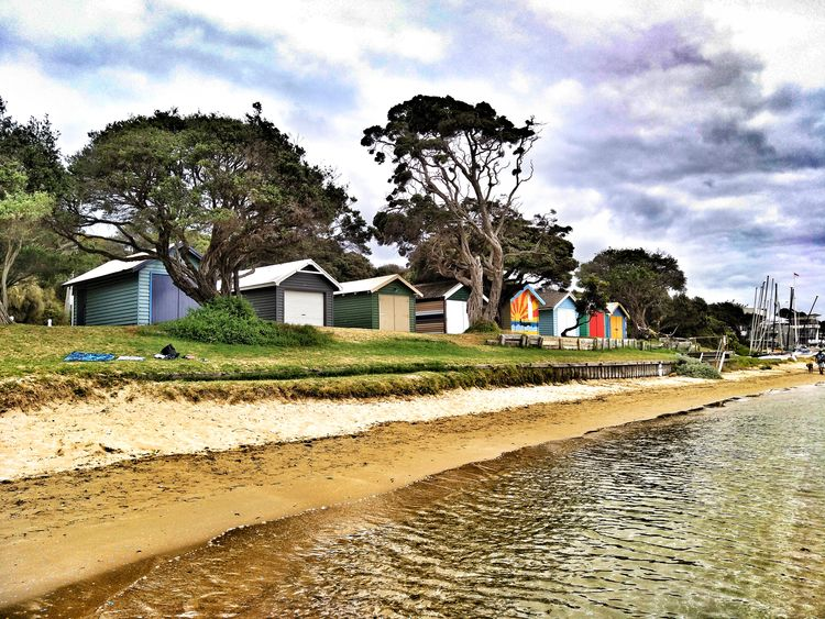 Blairgowrie beach boxes on the mornington peninsula Beachbox Visitvictoria Melbourne Australia Beach Beach Photography Morning Sky Ocean Marina Tree Sky Cloud - Sky Day Outdoors Architecture Built Structure
