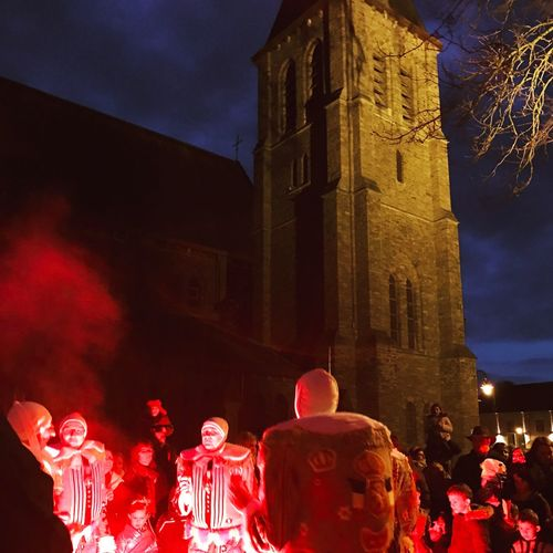 Night Carnaval Illuminated Church Architecture Winter Gilles De Binche Belgium. Belgique. Belgie. Belgien. Etc. Party Time Cultures