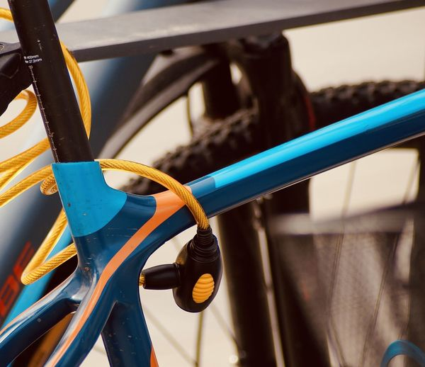 Close-up of bicycle with lock