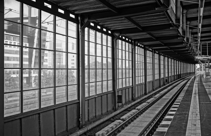 Station view ... Absence Architecture Berlin Black & White Building Built Structure Composition Fenster Full Frame Glass Glass - Material Indoors  Jannowitzbrücke Leading Mi Pattern Perspective Rails Repetition S-bahnhof Schienen Starbucks Subway Transparent Window