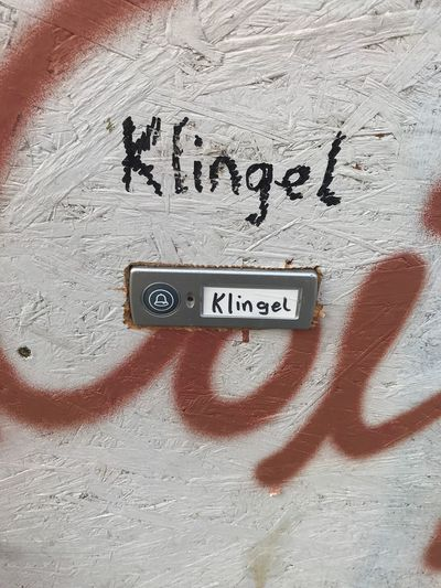 Klingel /Doorbell Klingel Door Bell Text Western Script Communication No People Day Close-up Indoors