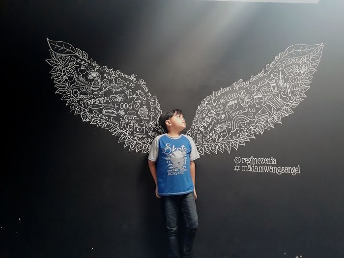 my angel wings Doodleart Wings Angelwings  Cyberspace Child Blackboard  Standing Childhood T-shirt Discovery Communication Text