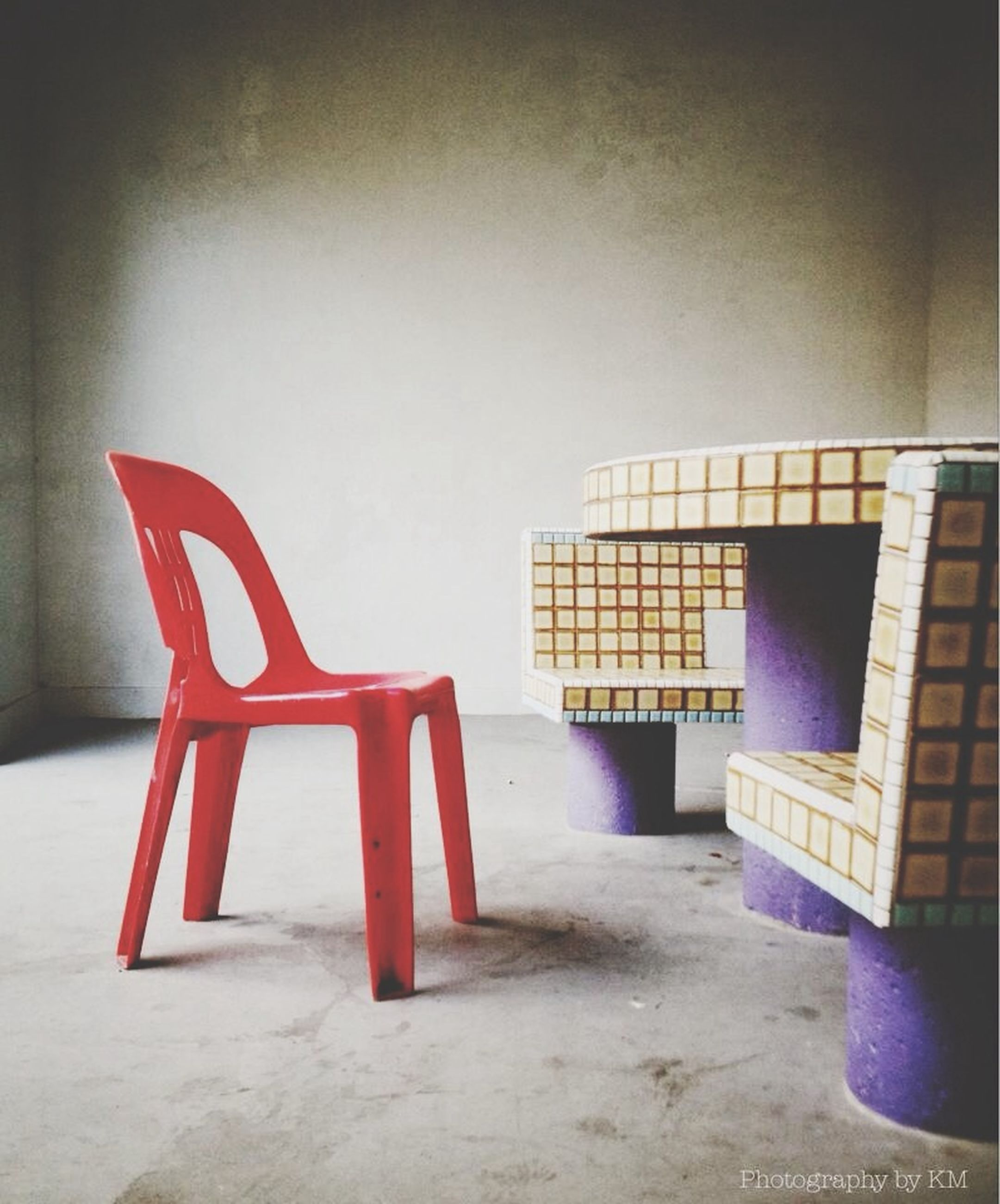 architecture, built structure, absence, empty, chair, indoors, building exterior, wall - building feature, red, wall, window, house, copy space, day, home interior, no people, sunlight, table, auto post production filter, bench