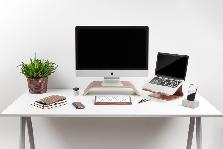 modern white desk apple Apple Business Computer Computer Keyboard Computer Monitor Designer  Desk Homepage Laptop Modern Modern Office Office Place Of Work Studio Shot Table Technology Water White Background Working Working At Home