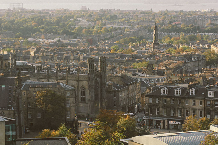 Classic city of Edinburgh Building Exterior Architecture Built Structure City Cityscape High Angle View Building Residential District No People Nature Day Outdoors Tree Travel Destinations Plant Aerial View City Life Settlement Scotland Castle Classic Vintage