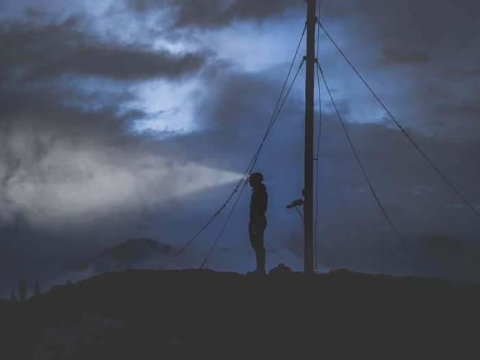 Bringing light into the darkness Photography Austria Explore Discover  Dark Sunset Cloud - Sky Sky Real People One Person Nature Full Length Beauty In Nature Silhouette Men Mountain Rope Standing Lifestyles Day Low Angle View Outdoors Leisure Activity Land