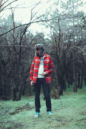 One Man Only Only Men One Person Adult Adults Only Full Length Tree Checked Pattern Red Men People Standing Mature Adult Day Outdoors Bare Tree One Young Man Only Protective Glove Winter Rural Scene EyeEm Ready