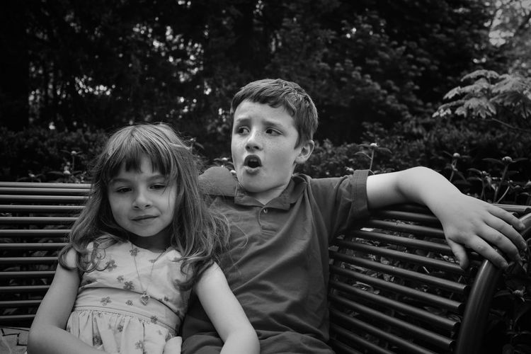 Portrait Of Smiling Girl With Brother Sitting On Bench