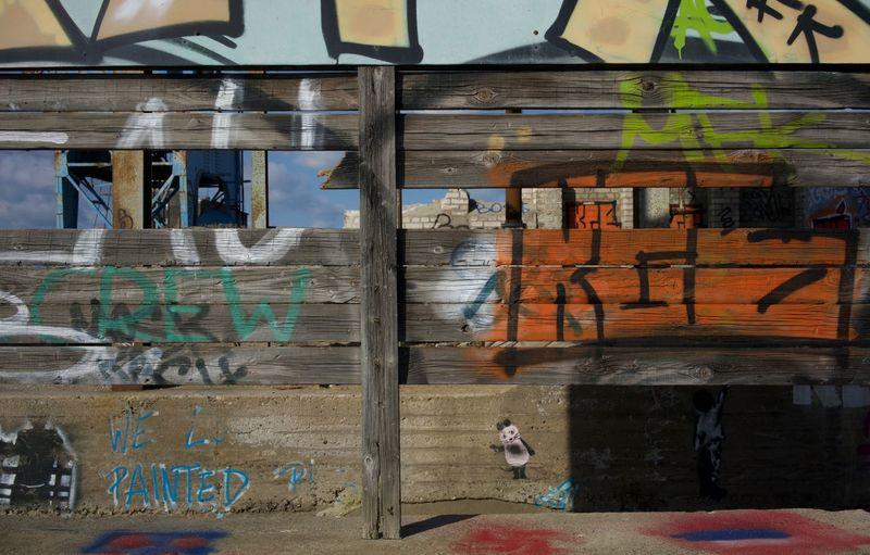 Graffiti Blue Brown Concrete Derelict Place Graffiti Orange Structure Wood - Material