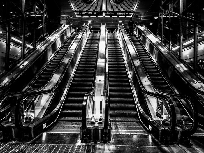 Stairs in Stockholm central. Olympus EyeEm Best Shots Bw Blackandwhite Bw_collection Shadow Light And Shadow Light EyeEm Gallery EyeEm Selects EyeEm Eye4photography  Olympuspenf Streetphotography Street Photography Blackandwhite Technology Illuminated Escalator Moving Walkway  Transportation Building - Type Of Building Subway Station Railroad Station Subway Platform Railroad Station Platform Subway Subway Train Elevated Walkway Building Railing Capture Tomorrow