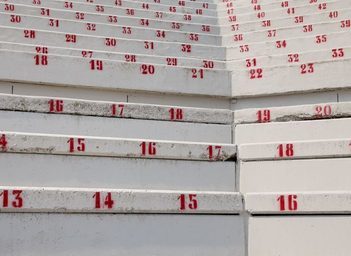 many numbers on the stadium bleachers to indicate a seat Event Math Stadium Stadium Seating Stairs Tickets Background Backgrounds Bleacher Bleachers Built Structure Concrete Empty Entertainment Occupation Maths No People Nobody Number Numbers Numeral Reservation Seat Sport Sport Venue Stadium Architecture
