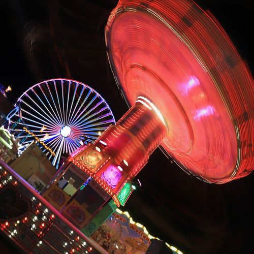 luna park 3 Amusement Park Ride No People Amusement Park Luna Park Arts Culture And Entertainment Ferris Wheel Carousel Motion Long Exposure Blurred Motion Outdoors Speed Fairground Nightlife Excitement Enjoyment Glowing Fun Multi Colored Illuminated Night Spinning Low Angle View