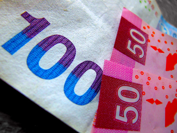 Euros Bank Notes Blue Business Close-up Currency Euros Fifty Finance Financial Figures No People Number One Hundered Paper Currency Red
