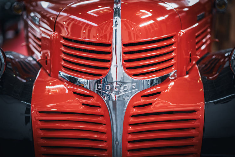 Close-up of red vintage car