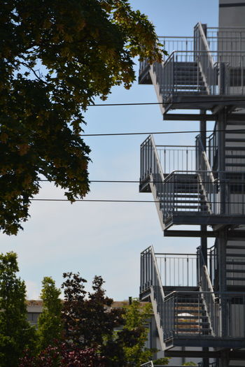 View Of Fire Escapes Against Clear Sky